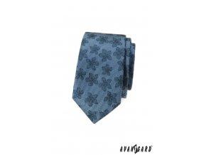 Modrá luxusní pánská slim kravata s květy