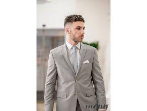 Světle šedá luxusní pánská slim kravata s květy