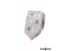 Světle béžová luxusní pánská slim kravata s květy