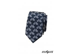 Tmavě modrá luxusní pánská slim kravata se vzorem - Kolo