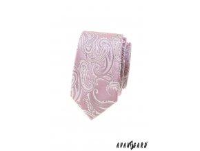 Světle růžová luxusní pánská slim kravata se vzorem