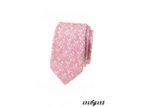 Pudrová luxusní pánská slim kravata s jemnými květy