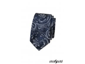Tmavě modrá luxusní pánská slim kravata se vzorem
