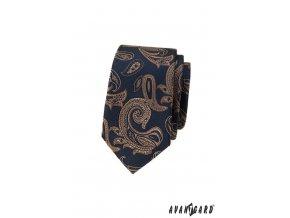 Velmi tmavě modrá luxusní pánská slim kravata s hnědým vzorem
