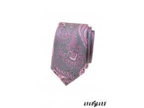 Šedá luxusní pánská slim kravata s růžovým vzorem