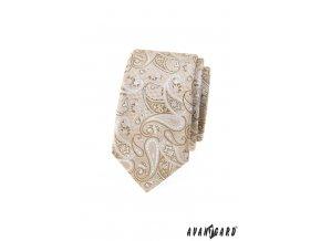 Béžová luxusní pánská slim kravata s výrazným vzorem