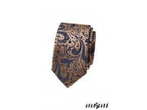 Béžová luxusní pánská slim kravata s tmavým vzorem
