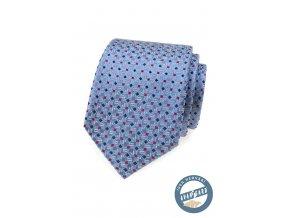 Modrá hedvábná pánská kravata se vzorem