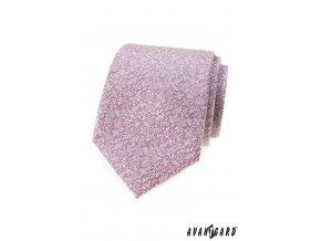 Světle růžová vzorovaná luxusní pánská kravata