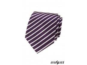 Fialová luxusní pánská kravata s pruhy