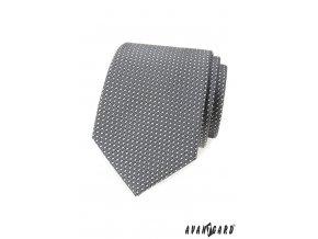 Šedá luxusní pánská kravata s malými obdélníčky