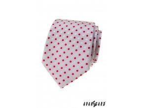Světle šedá luxusní pánská kravata s puntíky