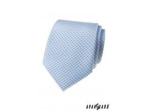 Světle modrá luxusní pánská kravata s tečkami