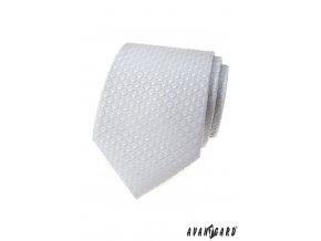 Světle šedá luxusní pánská kravata s nenápadným vzorkem
