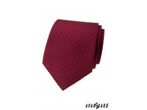 Vínová luxusní pánská kravata s mřížkou stejné barvy
