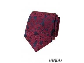 Vínová luxusní pánská kravata s tmavým podkladem