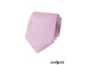 Růžová luxusní pánská kravata s tečkami