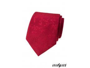 Červená luxusní pánská kravata s listy stejné barvy