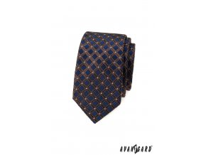 Tmavě modrá luxusní pánská slim kravata s hnědou mřížkou