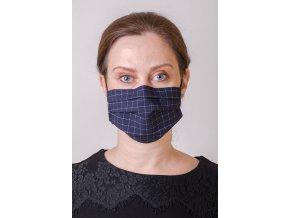 Modrá dámská ochranná rouška na obličej s kapsou, dvouvrstvá, skládaná (s gumičkami) - vzor mřížka