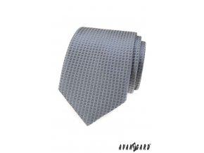 Šedá pánská kravata s mřížkou