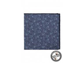 Modrý květovaný luxusní kapesníček do saka