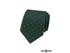 Tmavě zelená kravata s kostičkovaným vzorem