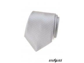 Světle šedá pánská kravata s mřížkou