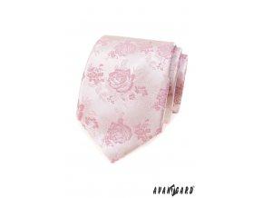 Velmi světle růžová luxusní pánská kravata s růžemi