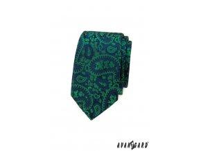 Zelená luxusní pánská slim kravata s modrým vzorem
