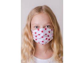 Bílá dětská ochranná rouška na obličej se vzorem hvězdy, dvouvrstvá (s gumičkami)