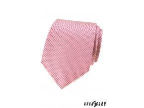 Růžová luxusní pánská kravata s drobnými tečkami