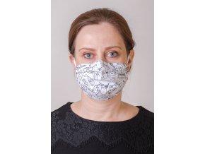 Bílá vzorovaná dámská ochranná rouška na obličej s kapsou, dvouvrstvá, skládaná (s gumičkami)
