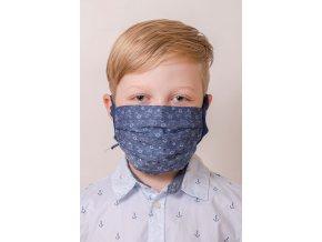 Modrá květovaná dětská ochranná rouška na obličej s kapsou, dvouvrstvá (se šňůrami)