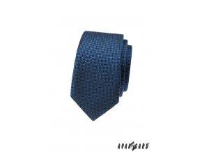 Modrá pánská slim kravata s vroubkovanou strukturou
