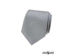 Šedá pánská kravata s šachovnicovým vzorkem stejné barvy