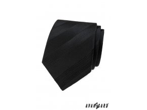 Černá pánská kravata s proužky stejné barvy