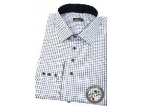 Bílá pánská slim fit košile se vzorem, dl.rukáv 107-0123