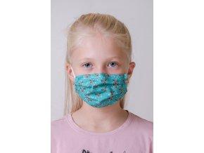 Zelená dětská ochranná rouška na obličej se soby a s kapsou, dvouvrstvá, s tvarovacím drátkem (s gumičkami)