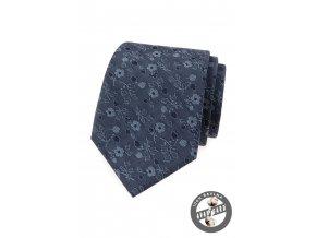Modrá luxusní pánská kravata s květy