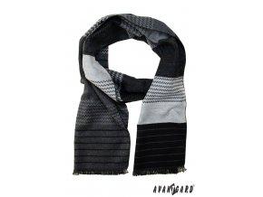 Černo–šedá pánská šála se vzorem