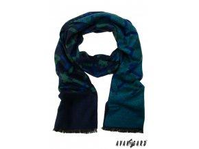 Modro–zelená pánská šála