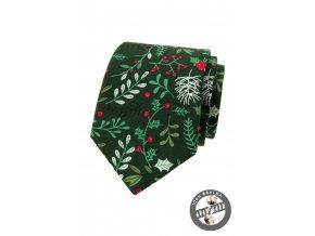 Zelená pánská kravata s větvičkami