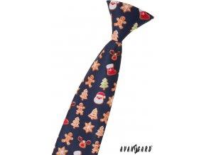 Tmavě modrá dětská kravata s perníčky (44 cm)