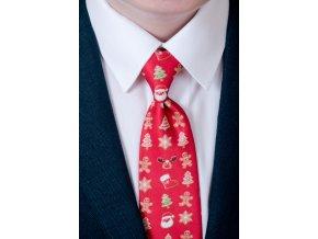 Červená dětská kravata s perníčky