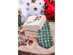 Zelená luxusní pánská kravata s perníčky