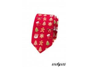 Červená luxusní pánská slim kravata s perníčky