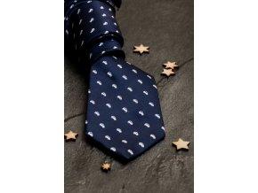 Tmavě modrá luxusní pánská slim kravata se vzorem - Auto