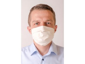 Smetanová pánská antibakteriální ochranná rouška na obličej (s gumičkami)