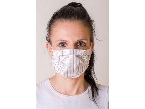 Bílá dámská ochranná rouška na obličej s proužky a s kapsou, dvouvrstvá, skládaná, s tvarovacím drátkem (s gumičkami)